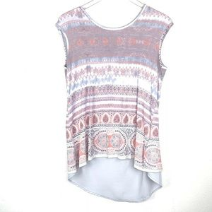 Rose+Olive Cross back Aztec Top Size M